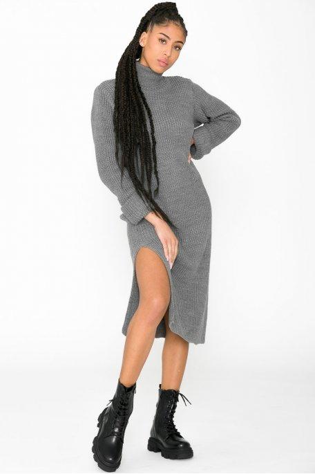 Robe pull longue col roulé fendue gris