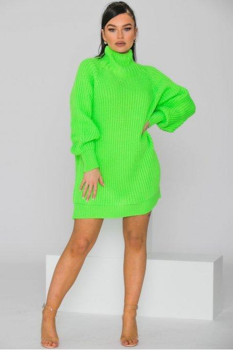 Robe pull en maille col montant vert fluo