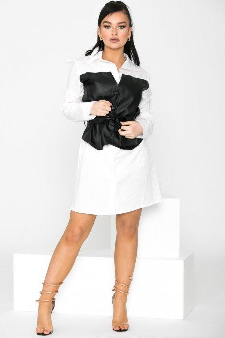 Robe chemise blanche bi-matière ceinturée