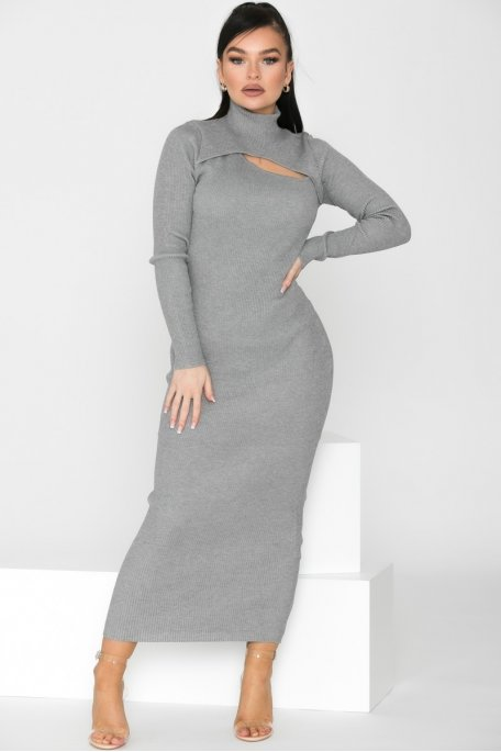 Robe pull longue ajourée gris