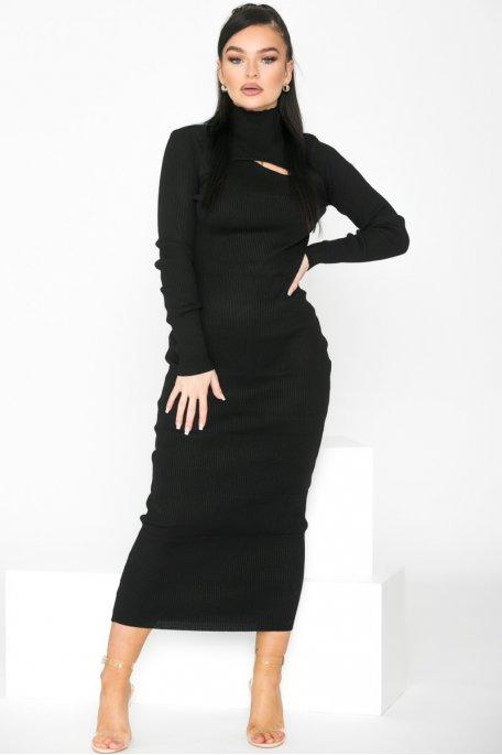 Robe pull longue ajourée noir
