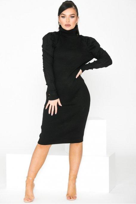 Robe en maille col roulé épaulettes noir