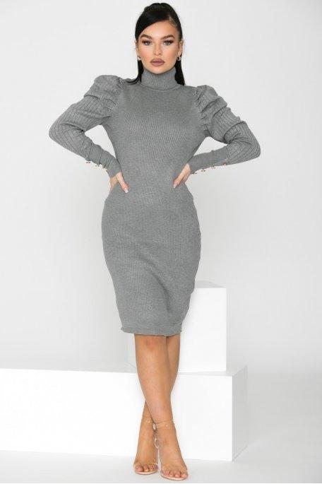 Robe en maille col roulé épaulettes gris