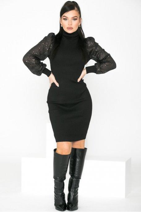 Robe en maille col roulé sequins noir