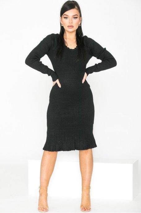Robe en maille côtelée ouverte noir