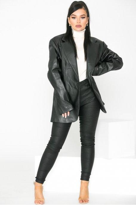 Blazer simili cuir oversize noir