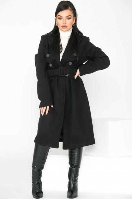 Manteau long classique ceinturé noir