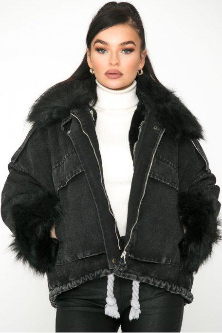 Veste en jean doublée fourrure noire