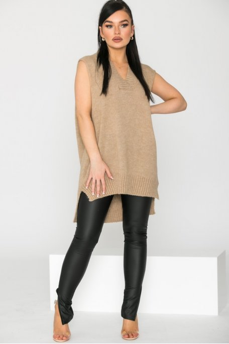 Legging simili cuir fendu noir