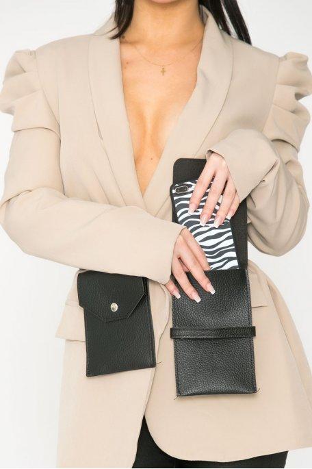 Ceinture noire à poches simili croco