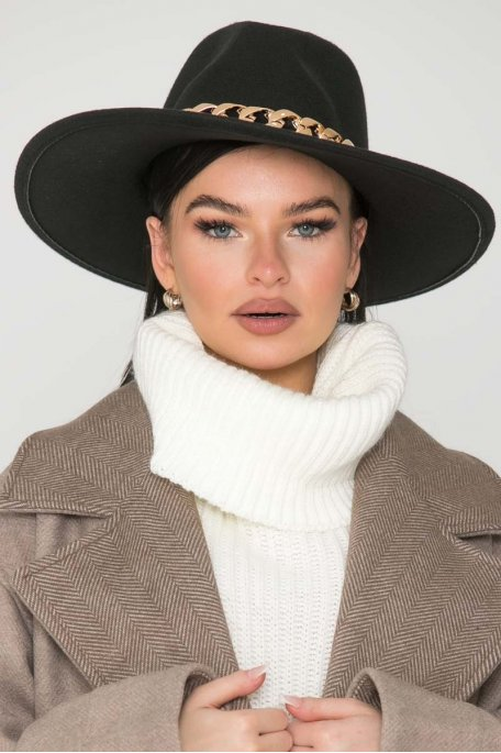 Chapeau feutrine chaine noir