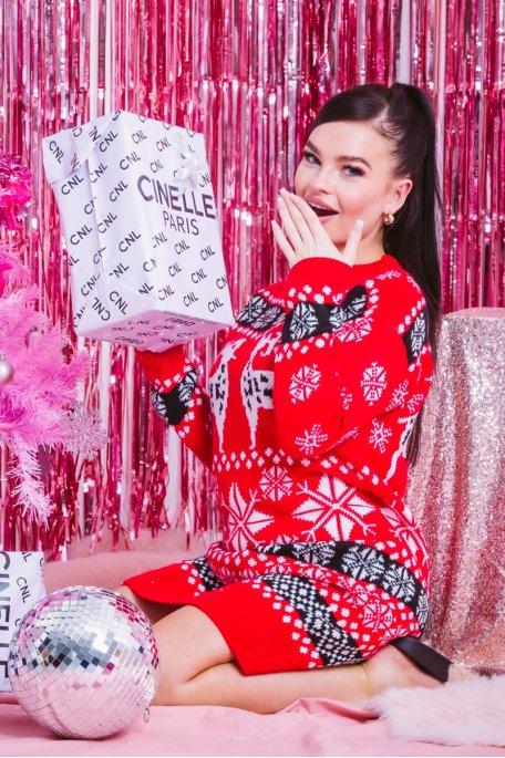 Robe pull Noël rouge