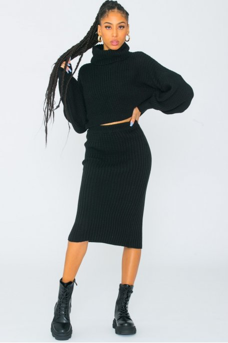 Ensemble jupe et pull grosse maille noir