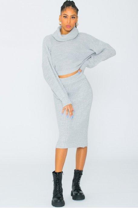Ensemble jupe et pull grosse maille gris