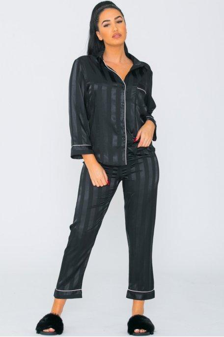 Pyjama satiné à rayures noir