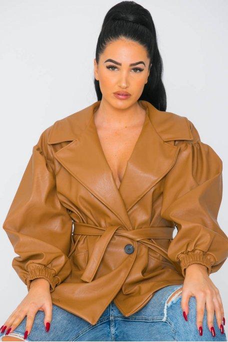 Veste large simili cuir ceinturée camel