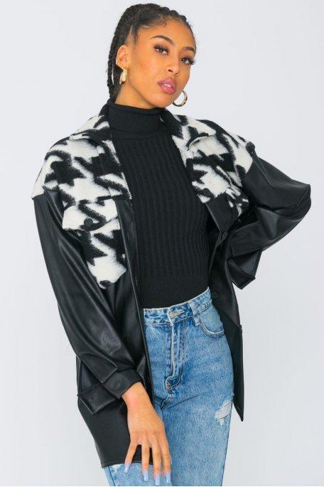 Veste style chemise en simili cuir bi-matière noir