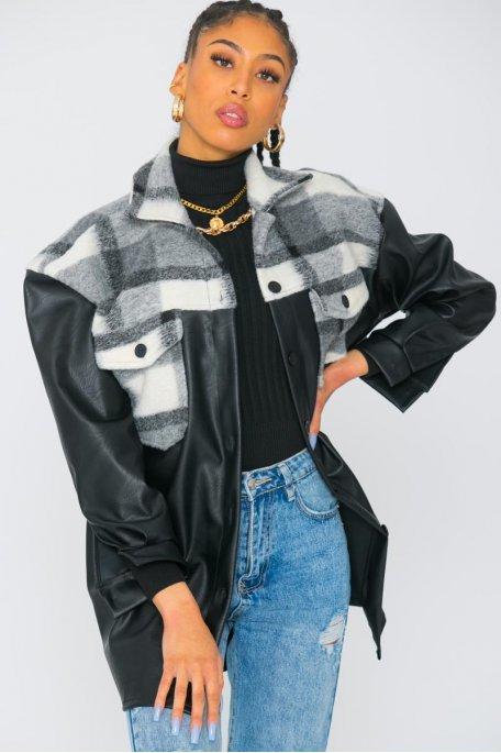 Veste style chemise en simili cuir bi-matière gris