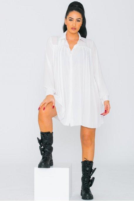 Chemise longue en mousseline plissée blanc