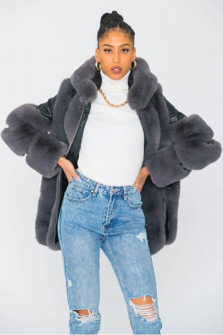 Manteau à capuche simili cuir fausse fourrure gris