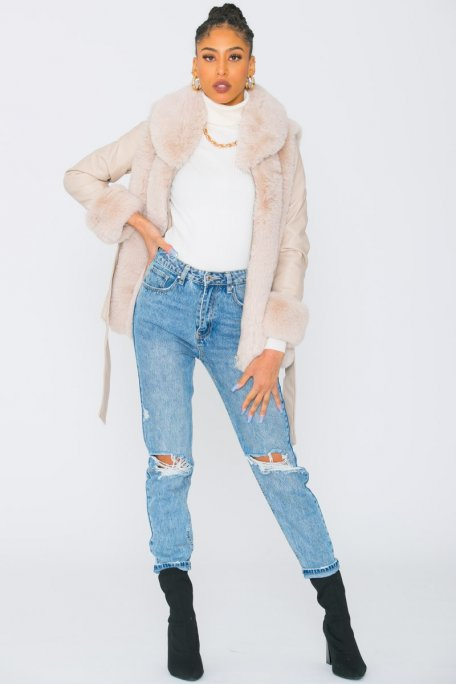 Manteau simili cuir fausse fourrure beige
