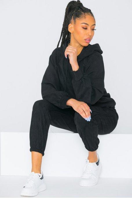 Ensemble sweat pantalon en suédine noir