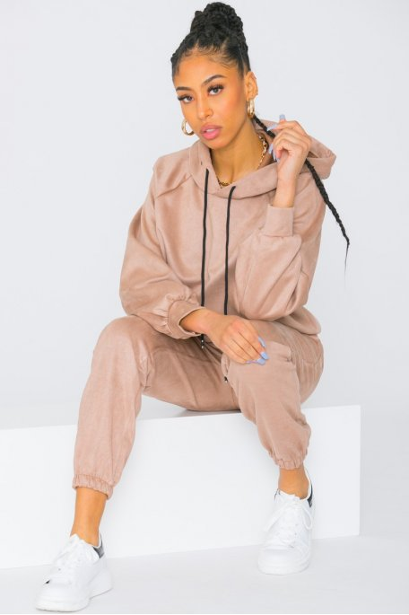 Ensemble sweat pantalon en suédine camel