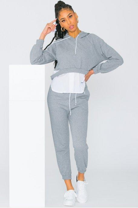 Ensemble jogging pull chemise gris