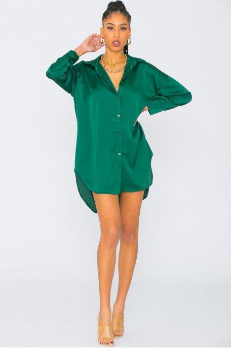 Robe chemise longue satinée vert