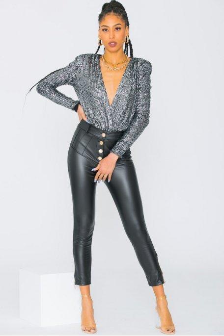 Pantalon en simili cuir taille haute boutonné noir
