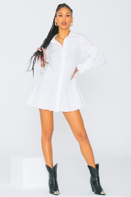 Robe chemise à volant blanc