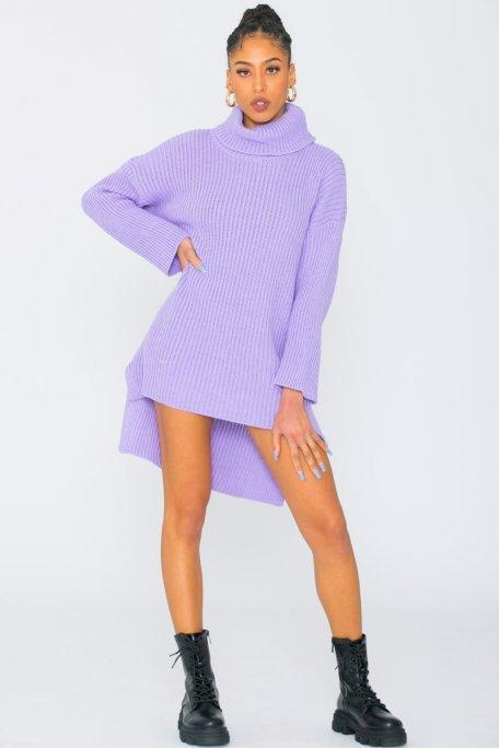 Robe pull en maille col roulé large violet