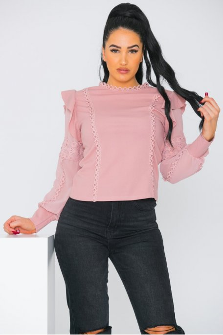 Top brodé fluide rose