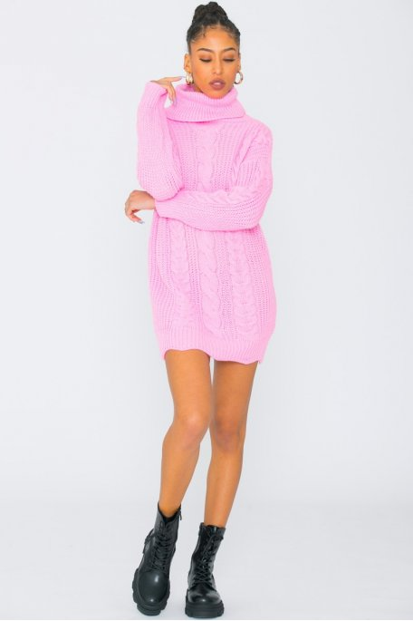 Robe pull en maille col roulé rose