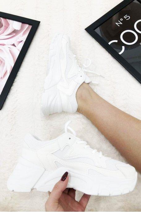 Baskets unies semelle épaisse blanc