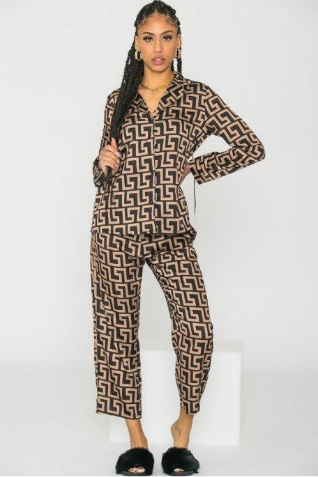 Ensemble pyjama 2 pièces motif géométrique camel
