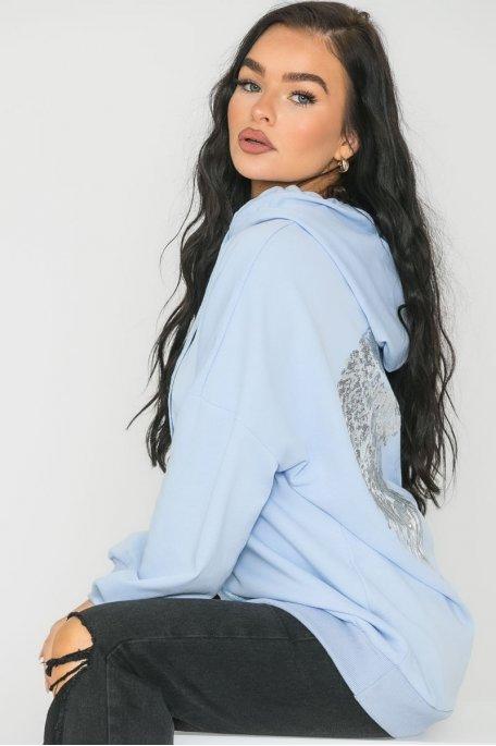 Sweat à capuche motif ailes bleu