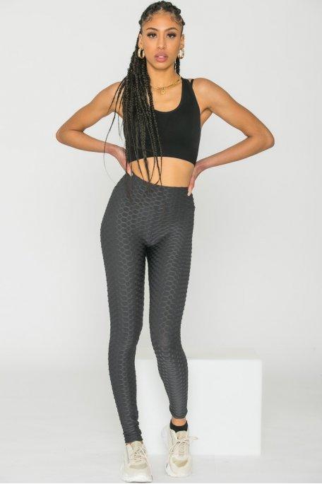 Legging sport alvéolé gris