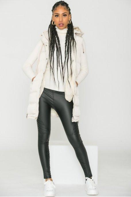 Legging taille haute simili cuir noir