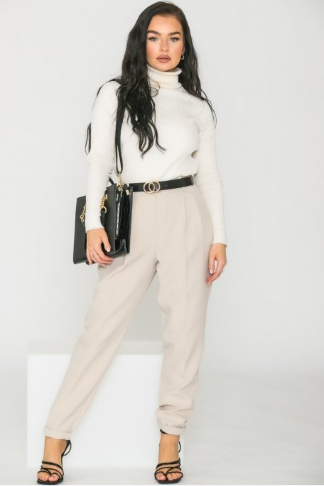 Pantalon carotte fluide ceinture beige