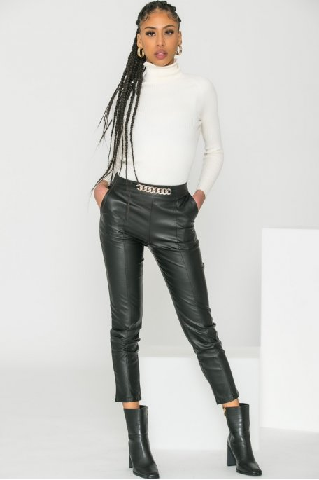 Pantalon simili cuir chaîne noir