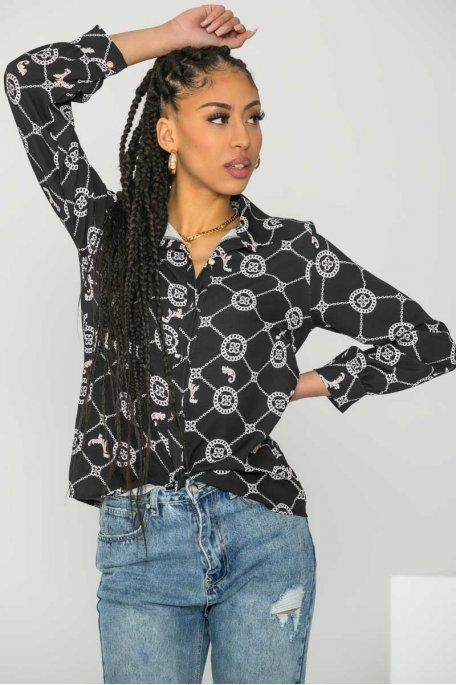 Chemise ample motif chaîne noir