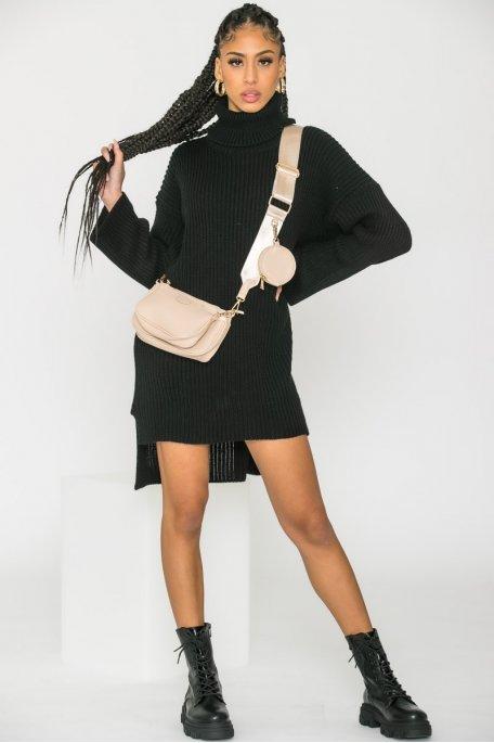 Robe pull en maille col roulé large noir