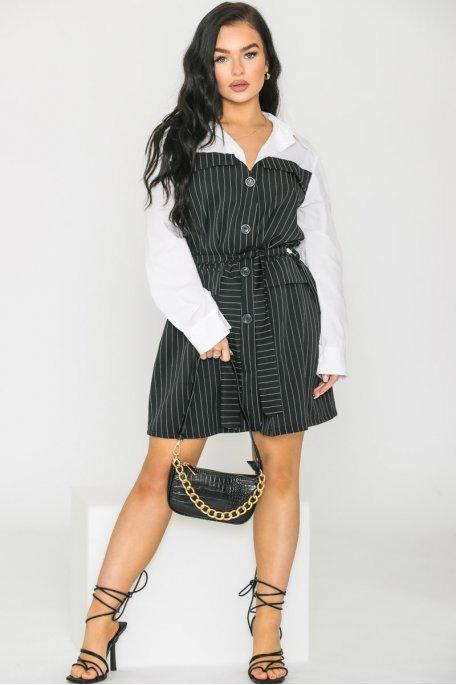 Robe style blazer à rayures blanc et noir
