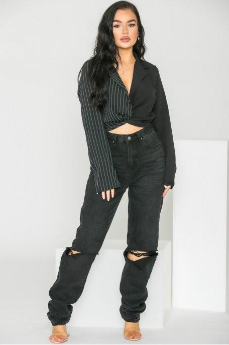 Top style blazer à rayures noir