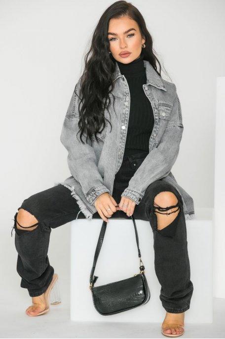 Veste en jean grise oversize effilée