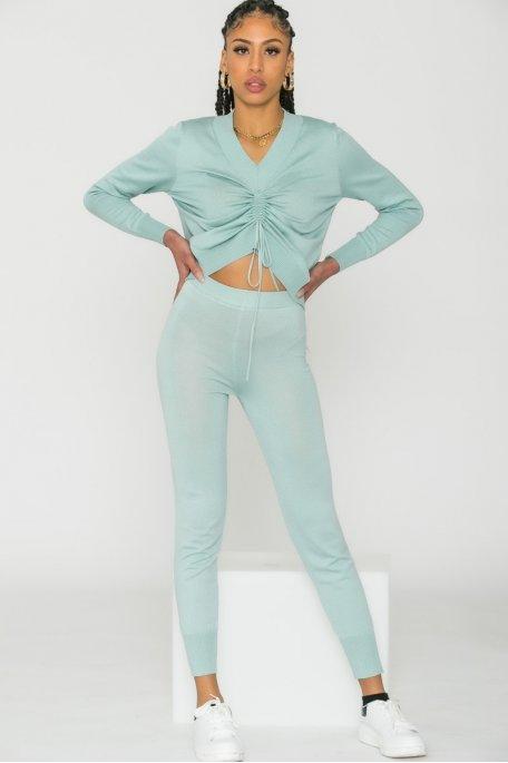 Pantalon fine maille vert