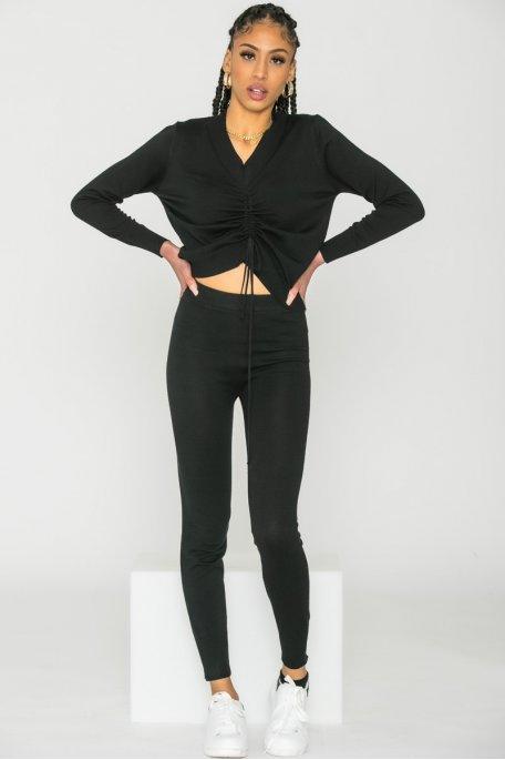 Pantalon fine maille noir