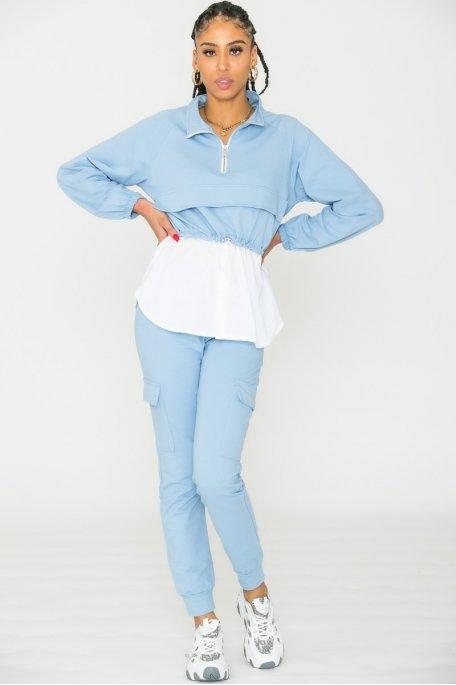 Ensemble sweat chemise bleu