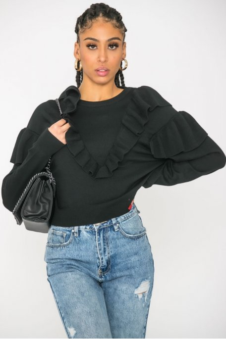 Pull froufrous col rond noir